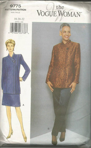 1990s Women's Jacket Skirt Pants The Vogue Woman Vogue 9775 UNCUT FF Bust 40/42/44 Women's Vintage Sewing Pattern