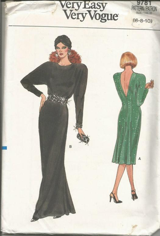 1980s Evening or Cocktail Dress Plunging Back Neckline Long Sleeves Fish Tail Back Easy to Sew Vogue 9781 UNCUT FF Size 6/8/10 Bust 30.5/31.5/32.5 Women's Vintage Sewing Pattern