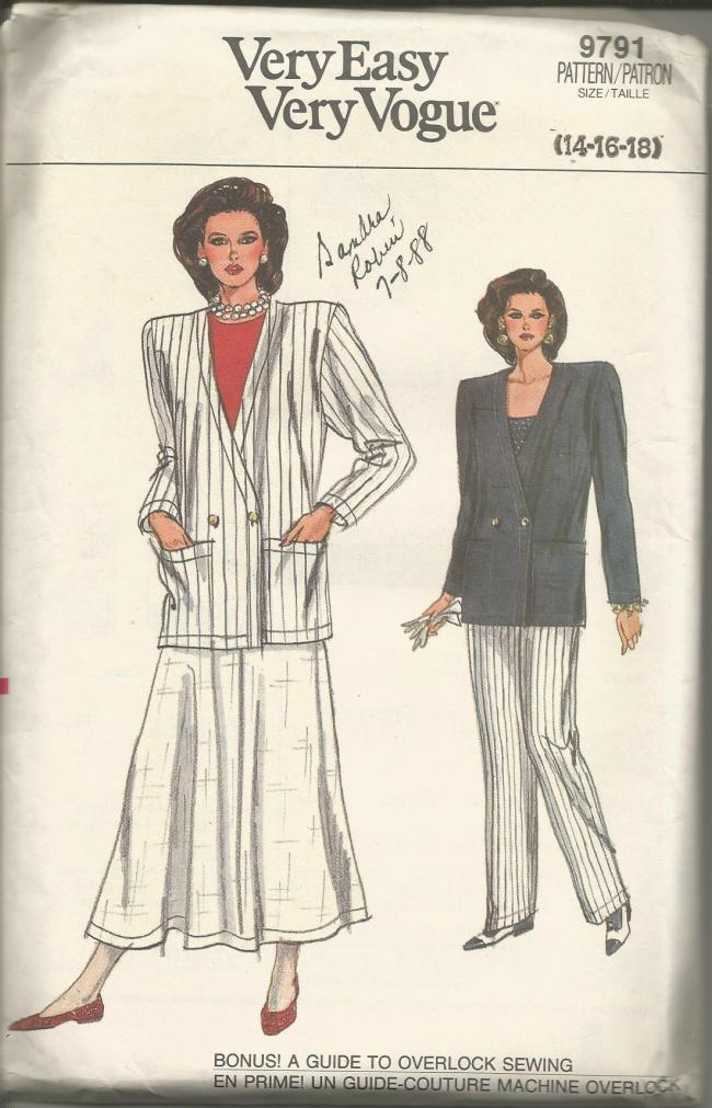 1980s Flared Skirt Straight Leg Pants & Jacket Easy to Sew Vogue 9791 UNCUT FF Bust 36/38/40 Women's Vintage Sewing Pattern