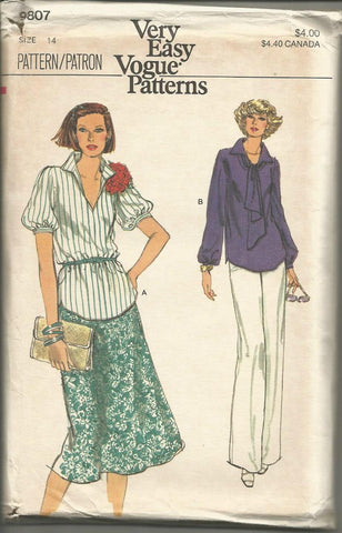 1980s Blouse Skirt Pants Easy to Sew Vogue 9807 UNCUT FF Bust 36
