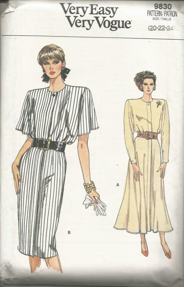 1980s Slim or Flared Dress Sleeve Variations Easy to Sew Plus Size Vogue 9830 UNCUT FF Bust 42/44/46 Women's Vintage Sewing Pattern