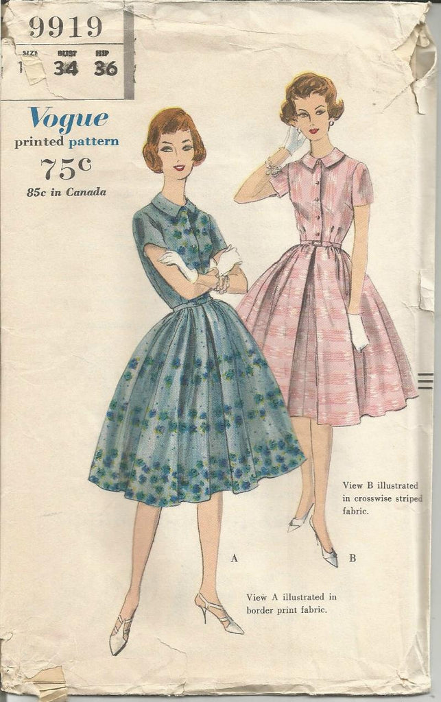 1950s Bouffant Dress Sleeve Variations Vogue 9919 UNCUT FF Bust 34