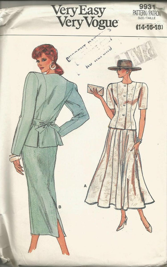1980s Skirt Suit Straight or Flared Skirt Tie Back Jacket Easy to Sew UNCUT FF Vogue 9931 Bust 36/38/40