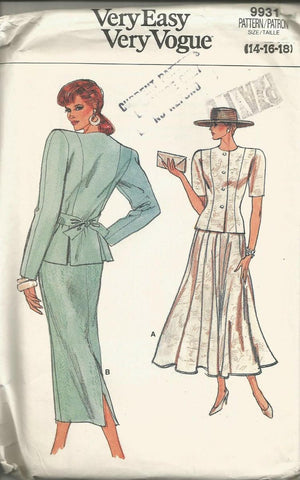 1980s Skirt Suit Easy to Sew Vogue 9931 Bust 36/38/40