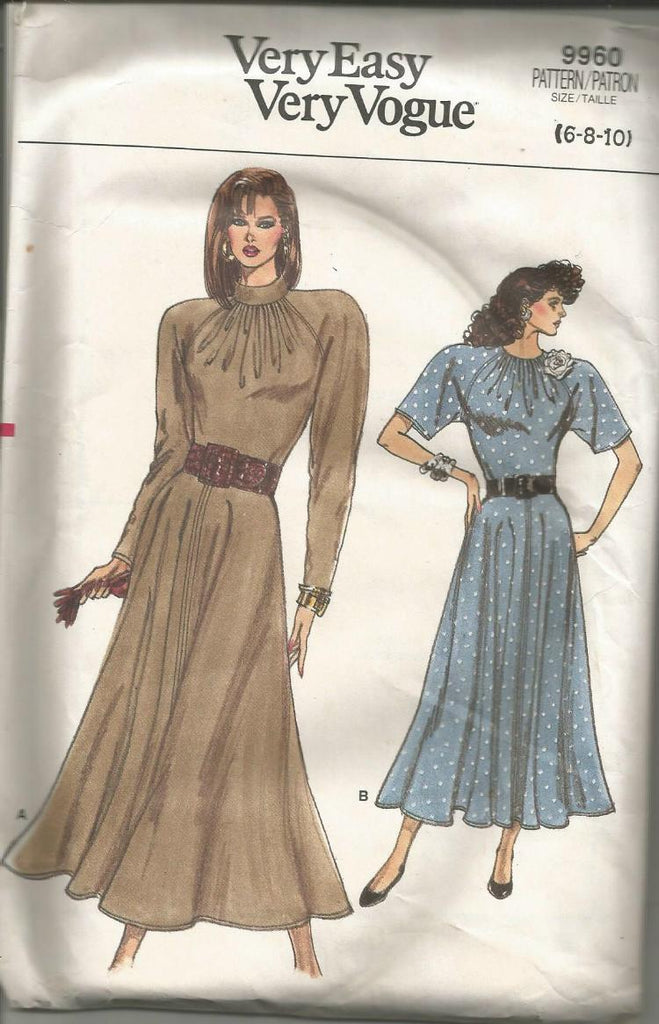 1980s Flared Skirt Dress Fitted Bodice Short or Long Sleeves Easy to Sew Vogue 9960 UNCUT FF Sizes 6/8/10 Bust 30.5/31.5/32.5 Women's Vintage Sewing Pattern