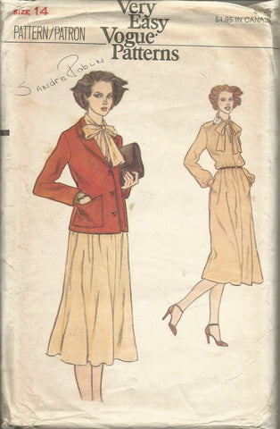 1980s Dress & Jacket Easy to Sew Vogue 9960 C/C Sz 14 Bust 36