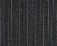 Load image into Gallery viewer, Multi Stripe Charcoal with Blue and Grey, Super 170, Wool