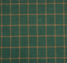 Load image into Gallery viewer, Green With Yellow Check Pattern, Super 160, Linen Silk Wool