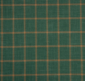 Green With Yellow Check Pattern, Super 160, Linen Silk Wool