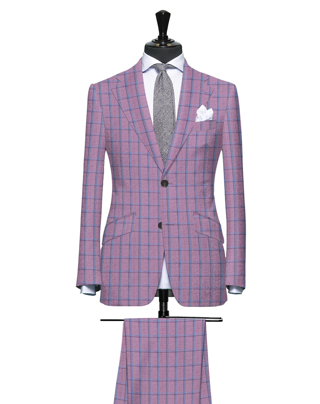 Pink and Azure Bold Windowpane, Super 180, Wool