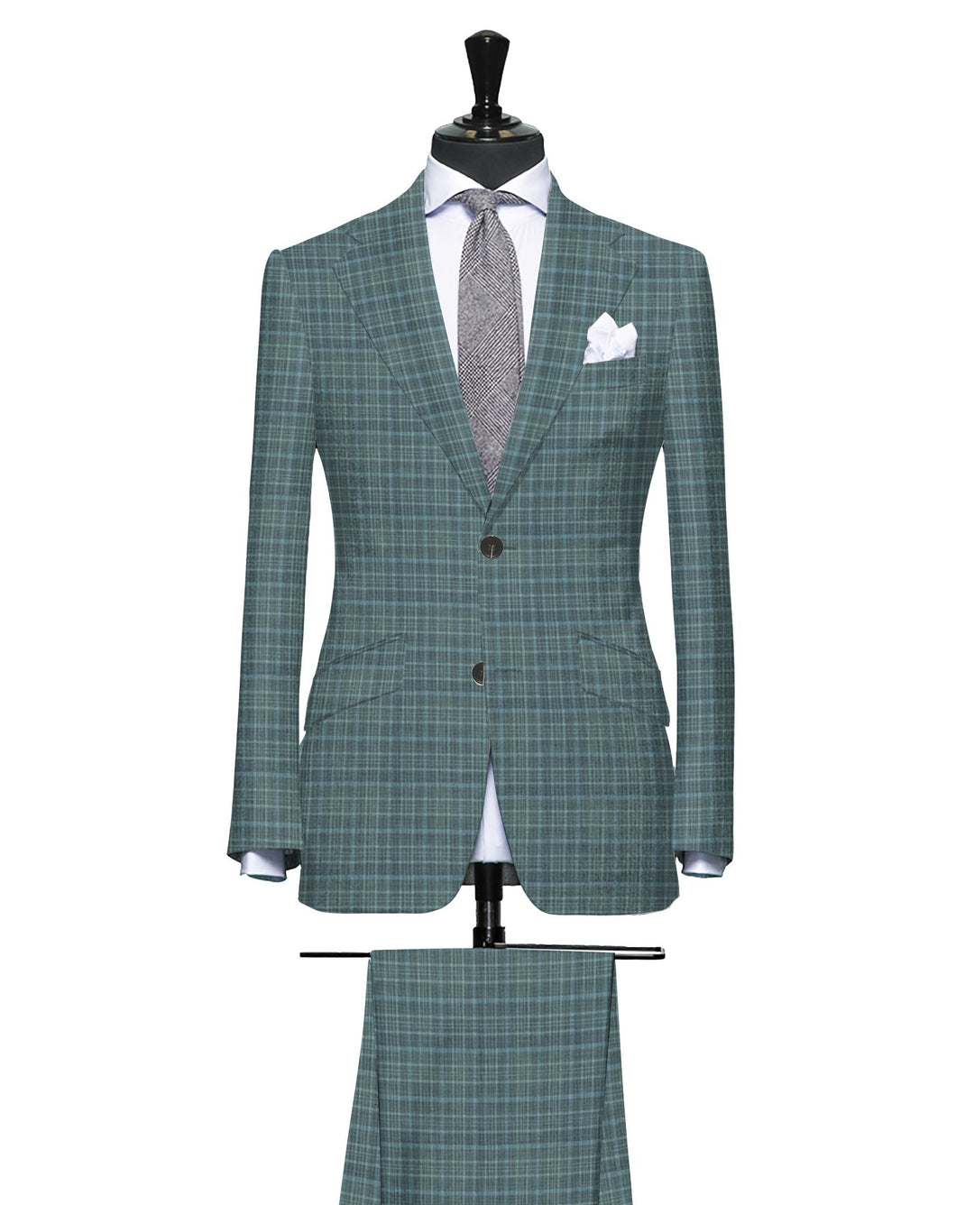 Sartorial Green with Light Blue Pattern, Super 160, Linen Silk Wool Blend