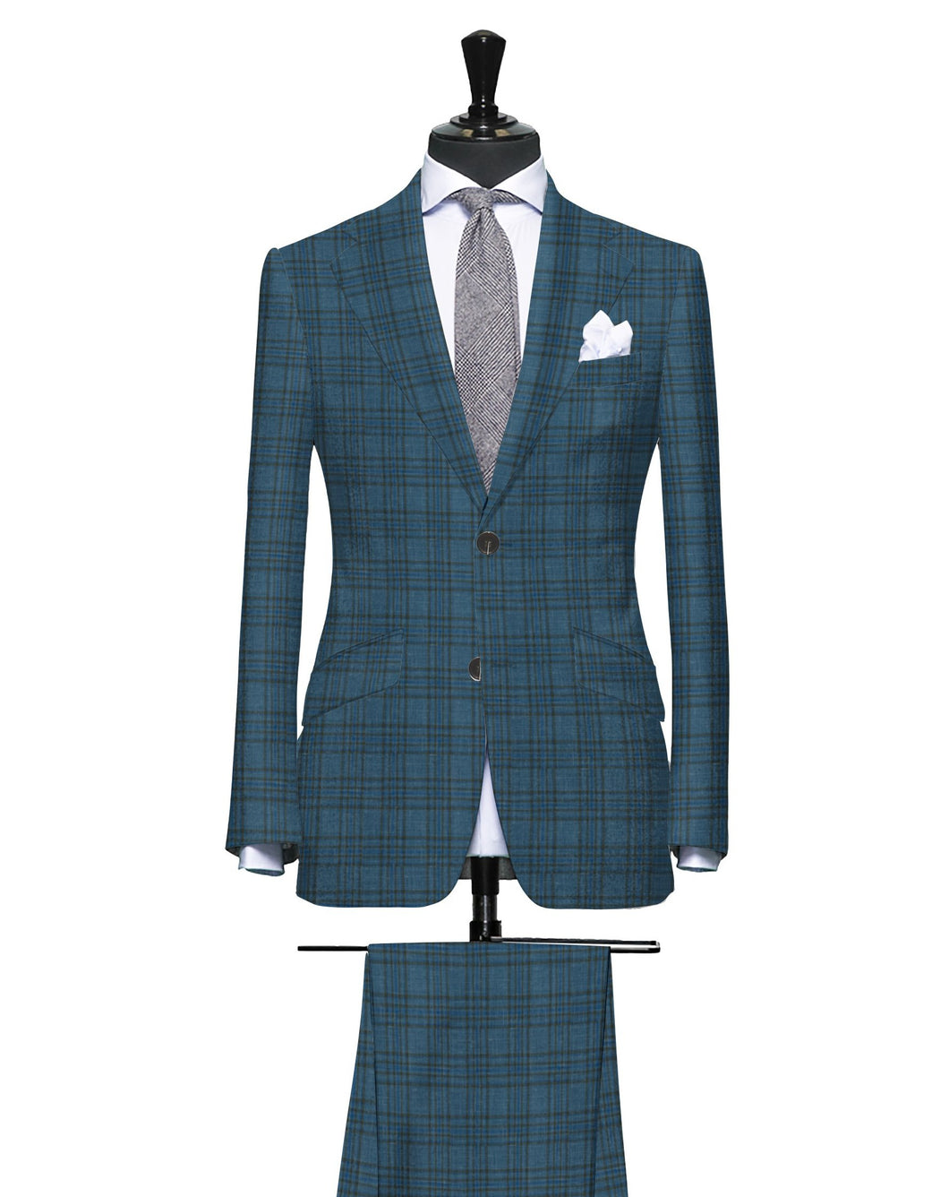 Multi Layered Shades of Blue with Brown Plaid Pattern, Super 160, Linen Silk Wool