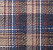 Load image into Gallery viewer, Bold Shades of Brown and Blue Plaid pattern, Super 150, Wool