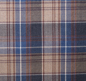 Bold Shades of Brown and Blue Plaid pattern, Super 150, Wool
