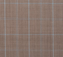 Load image into Gallery viewer, Light Mocha with Baby Blue Plaid, Super 150, Wool