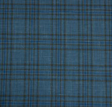Load image into Gallery viewer, Multi Layered Shades of Blue with Brown Plaid Pattern, Super 160, Linen Silk Wool