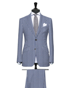 Royal Blue Check Pattern Seersucker