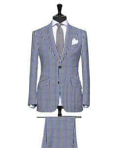 Navy Blue Check Pattern Seersucker
