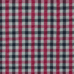 Red / Pink with Contrast Check Pattern Seersucker