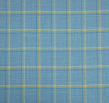 Load image into Gallery viewer, Light Blue with Yellow Windowpane, Super 160, Linen Silk Wool