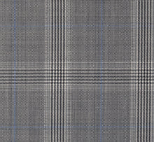 Load image into Gallery viewer, Grey and Charcoal with Light Blue Glen Plaid, Super 150, Wool