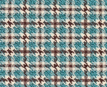 Load image into Gallery viewer, Turquoise and Mocha Plaid, Super 180, Year Round Wool