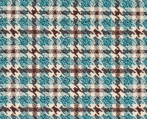 Turquoise and Mocha Plaid, Super 180, Year Round Wool