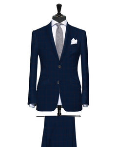 Rich Blue with Red Accent Windowpane, Super 150, Wool