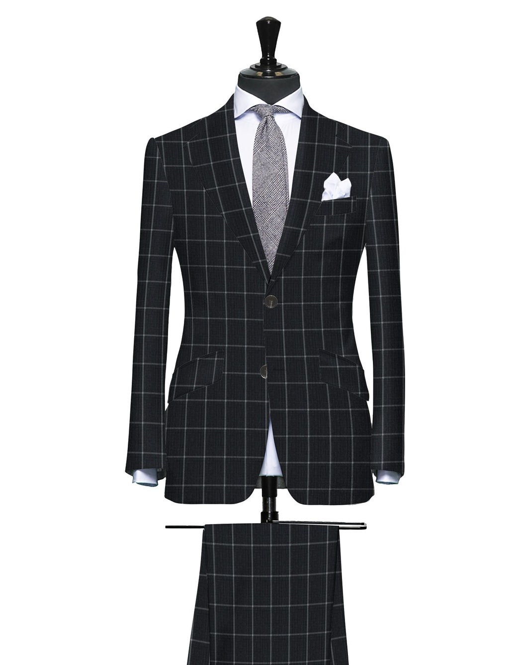Power Grey with Contrast Windowpane, Super 150, Wool