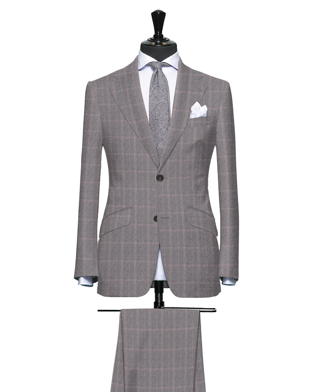 Sartorial Gray with Accents of Pink and Burgundy, Super 150, Wool