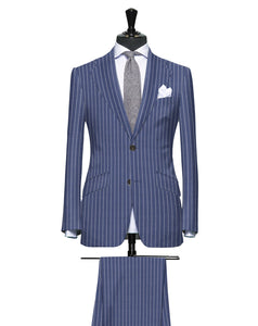 Bold Blue Power Pinstripe, Super 150, Wool