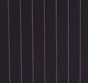 Navy Blue with Subtle Red Pinstripe, Super 150, Wool