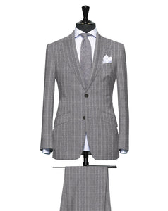 Light Grey Worsted Pinstripe, Super 160, Wool