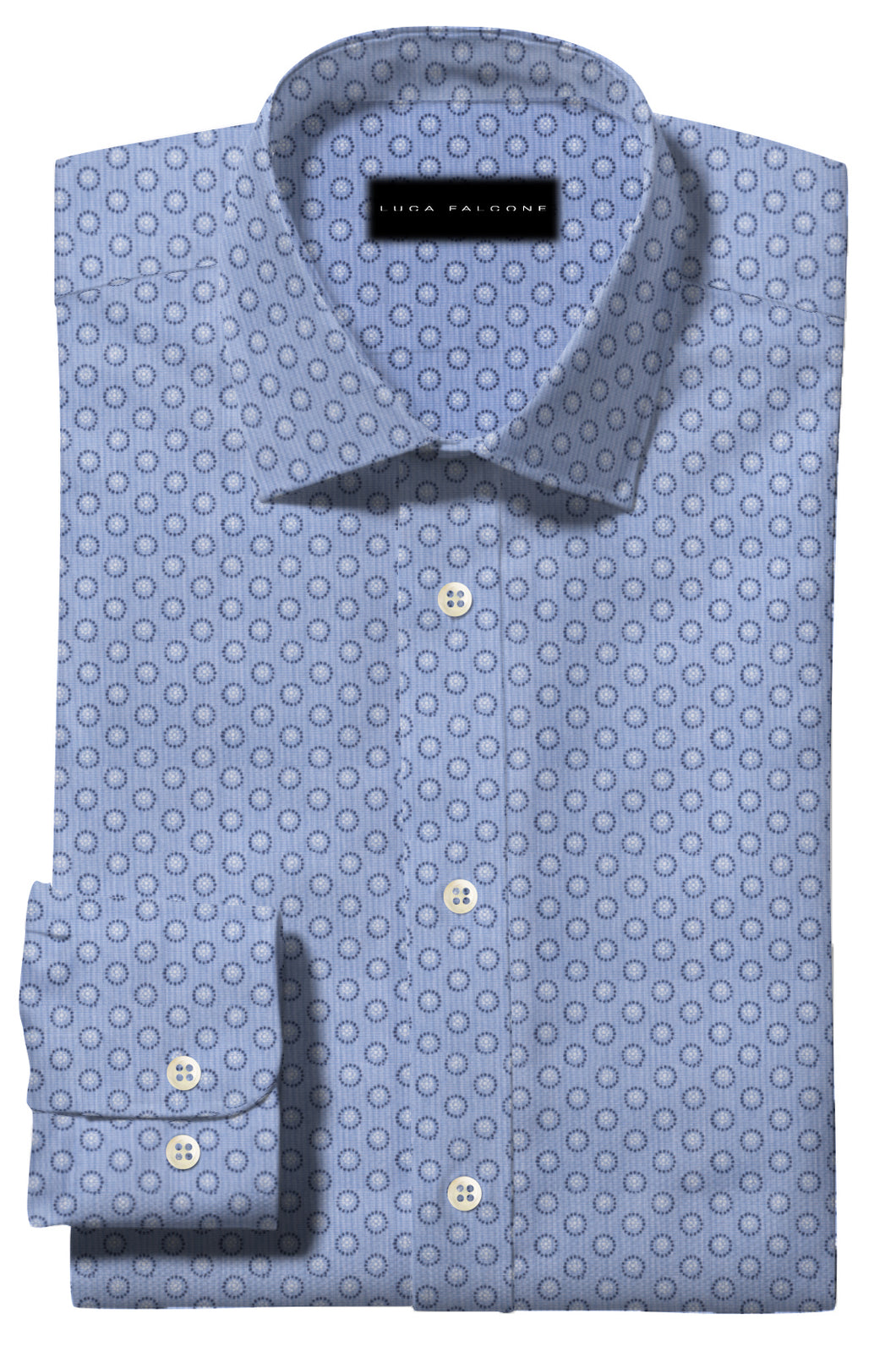 Light Blue with Dark Blue Circle Pattern