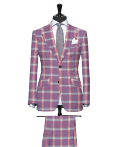 Light Plum, Pink and Blue Large Plaid Pattern, Super 140, Wool