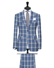 Load image into Gallery viewer, Grayish Blue with Tan and Cream Large Plaid Pattern, Super 140, Wool
