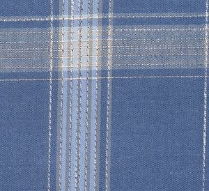 Grayish Blue with Tan and Cream Large Plaid Pattern, Super 140, Wool