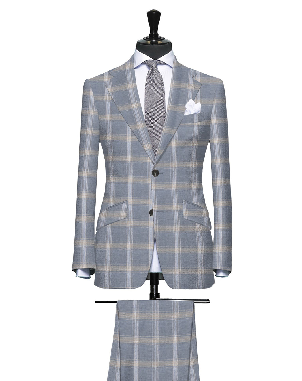Grey with Tan and Light Blue Large Plaid Pattern, Super 140, Wool