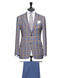 Tan and Light Blue Large Plaid Pattern with Matching Blue Pants, Super 150, Wool