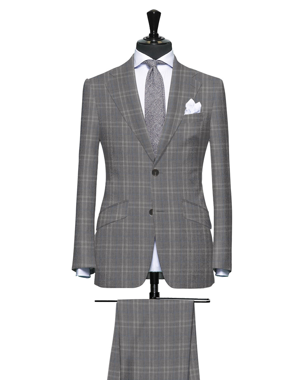 Grey and Charcoal with Light Blue Glen Plaid, Super 150, Wool