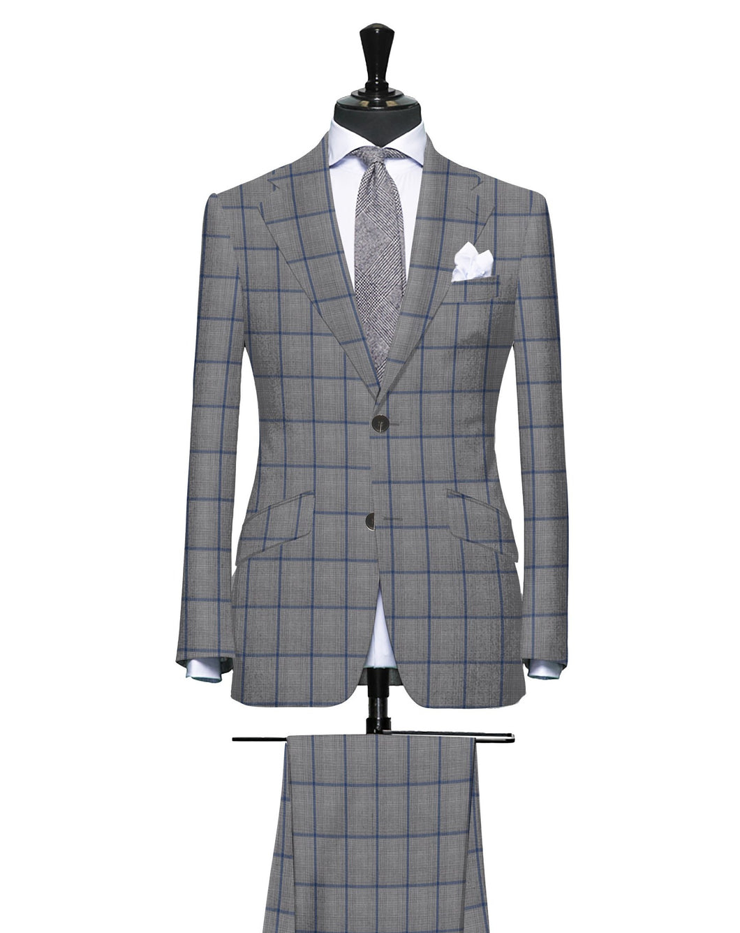 Grey Plaid with Blue Windowpane, Super 150, Wool