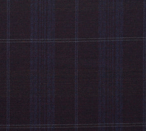 Burgundy with Blue Plaid Pattern, Super 150, Wool
