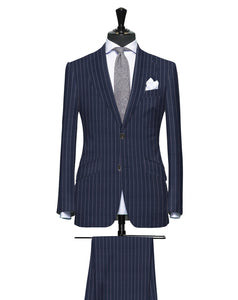 Classic Navy Blue Pinstripe, Super 150, Wool