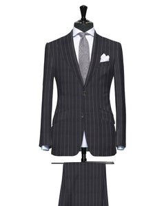 Wide Grey Pinstripe, Super 150, Wool