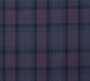 Deep Plum and Blue Plaid Pattern with Matching Pants, Super 150, Wool