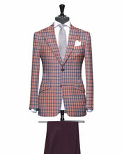 Load image into Gallery viewer, Peach and Pink Plaid Pattern with Matching Plum Pants, Super 150, Wool