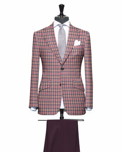 Peach and Pink Plaid Pattern with Matching Plum Pants, Super 150, Wool