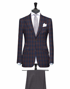Burgundy Blue and Grey Check Pattern with Matching Grey Pants, Super 150, Wool