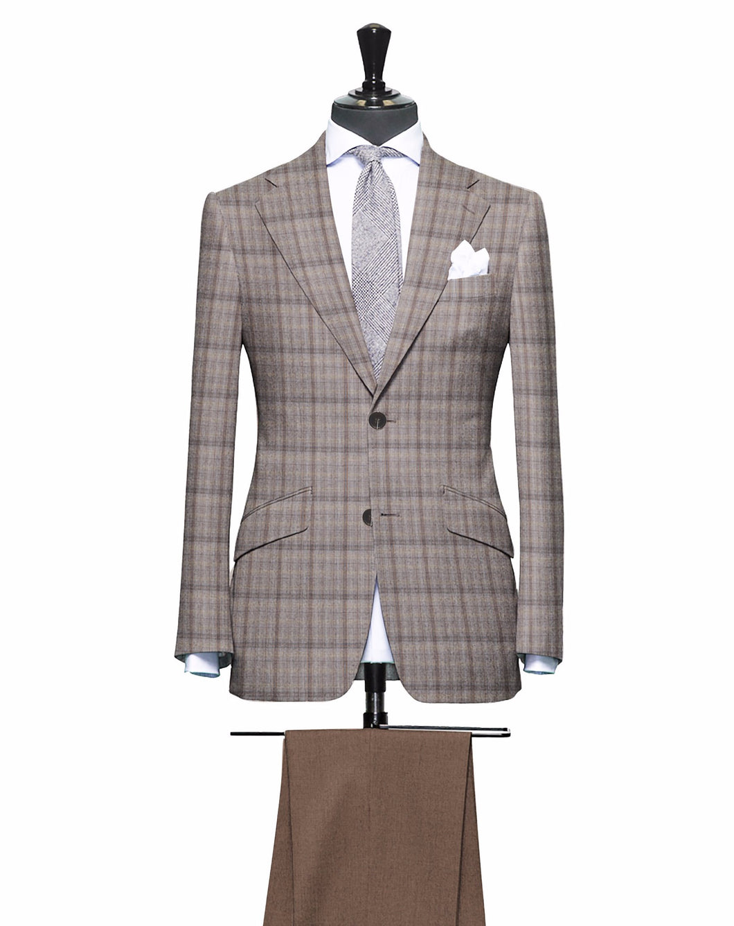 Shades of Brown Plaid Pattern with Matching Light Brown Pants, Super 150, Wool