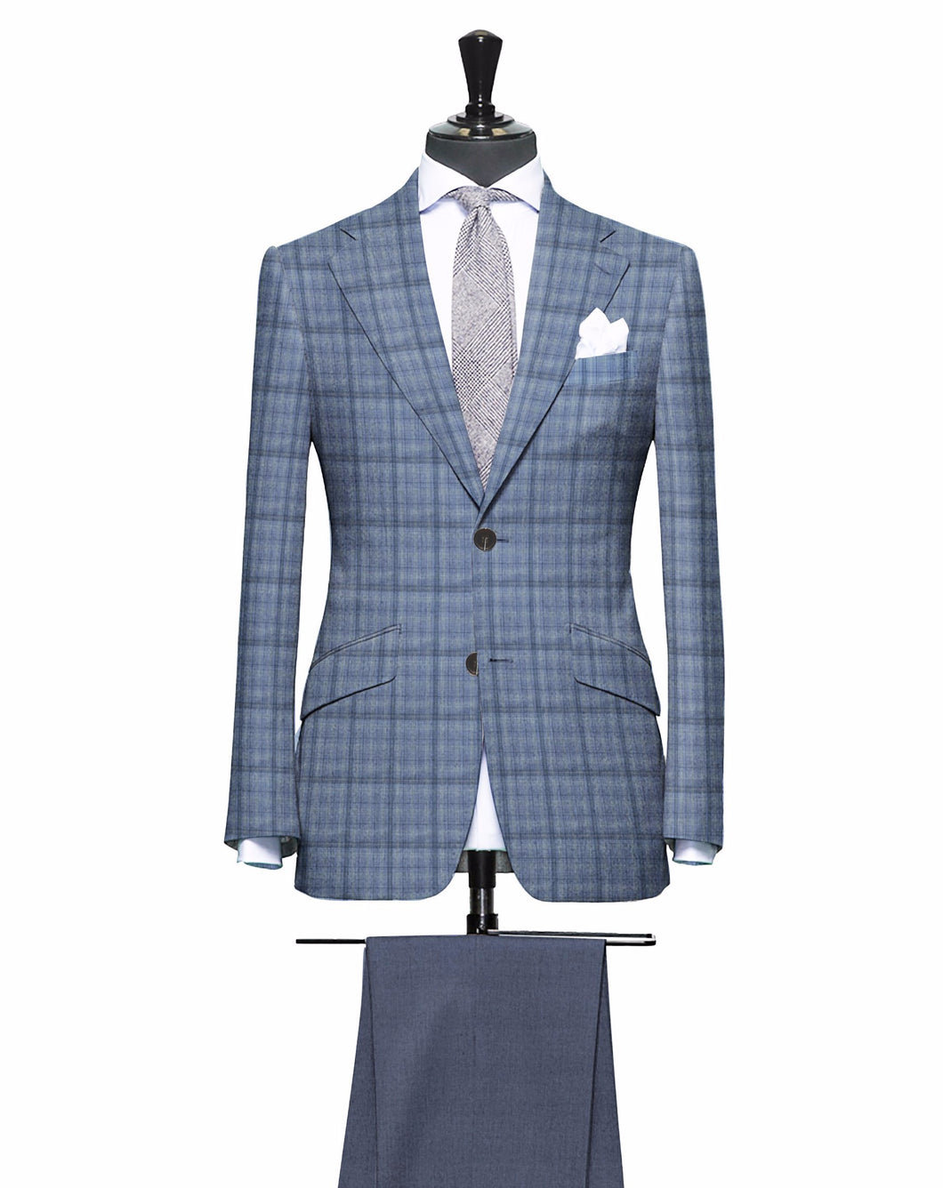 Shades of Steel Blue with Subtle Lime Pattern, Matching Steel Pants, Super 150, Wool